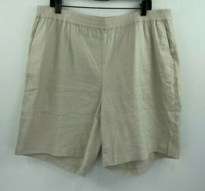 J Jill 2X Linen Stretch Shorts Beige Khaki Pull On Womens Elastic NWOT A8-06
