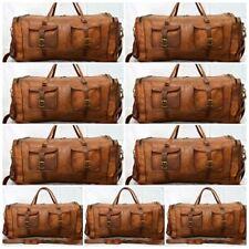 """28"""" Men's Genuine Brown Leather Vintage Duffle Travel Gym wholesale lot 5 pcs"""