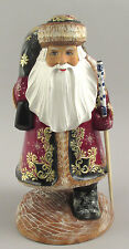 Authentic Russian Wooden Walking  Santa  Hand Carved & Painted Signed 12.5""