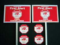 2 FIRST ALERT ...VIDEO SURVEILLANCE SIGNS + 4 DECALS  - 2 STAKES ..#PS-418