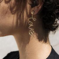 Fashion Women Silver Silver LOVE Earring Stud Dangle Earrings Jewelry Gift