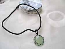 "Black Cord Necklace Green Agate Pendant 16"""