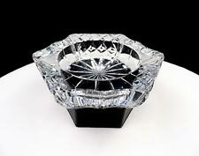 "GALWAY IRELAND CRYSTAL SIGNED CRISS CROSS DIAMOND 5 5/8"" CANDY DISH / ASHTRAY"