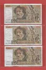 Lot de 3 x 100 FRANCS EUGENE  DELACROIX de 1981  ALPHABETS S.47  V.47  L.48