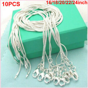 10Pcs16in-30in Wholesale 925 Sterling Silver Plated Snake Chain Necklace Pendant