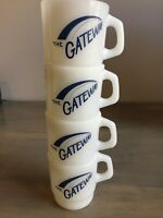 Vintage Set Of 4 Stackable Anchor Hocking Milk Glass Coffee Cups The Gateway