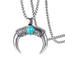 Tibetan Mens Pendant Necklace Stainless Steel Turquoise Bull Horn Necklace