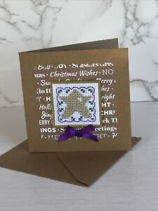 Completed Cross Stitch Star Christmas Card 4x4 Inch