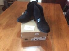 UGG Australia Women's Wright Black Belted Ankle Boots Sz 8 - New In Box