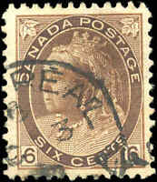 1898 Used Canada F-VF Scott #80 6c Queen Victoria Numeral Issue Stamp