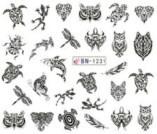 Nail Art Stickers Water Decals Transfers Black Designs Owls (BN1231)