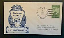 1946 Mindoro CVE 120 To Jacksonville FL Xmas Greeting Illustrated Naval Cover