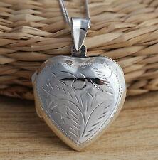 925 Sterling Silver Heart Locket Pendant Solid Large UK Hallmarked Jewellery Box