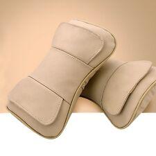 Beige 2pcs Car Seat Neck Rest Headrest Double Layer Pillow  Genuine Leather New