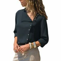 Women Fashion Lady Long Sleeve Ladies Top Office Chiffon Blouse Shirt T-Shirt
