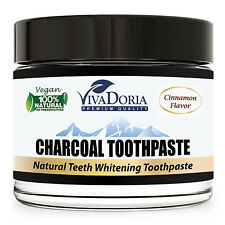 Viva Doria Activated Charcoal Whitening Toothpaste - Cinnamon (3 oz glass jar)