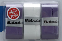 Babolat Purple, White, Purple Overgrip Tennis grips - Pack of 3 - Free UK P&P