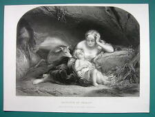 YOUNG MAIDEN Genevieve of Brabant Sleeping Baby Deer- SUPERB 1850s Antique Print