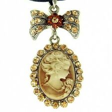 Brown ~CAMEO~ made with Swarovski Crystal Bridal Queen Princess Leather Necklace