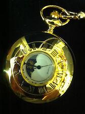 Plaqué or montre de poche moonphase avec chaîne et plaque de gravure gratuit