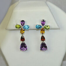 14K COLORFUL MULTI COLOR DIAMOND DANGLE RELIGIOUS CHRISTIAN FAITH CROSS EARRINGS