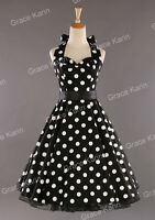 Lady VTG 1940's 50's style Cherry Floral Polka Dot Tea Party Swing Dress HOT NEW