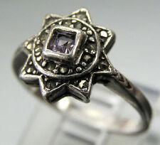 Vintage Antique Estate~Amethyst & Marcasites 925 Sterling Silver Ring Size 6.25