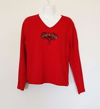 Harley Davidson Womens T-shirt Sz M Red Embroidered Grand Junction CO Top Tee