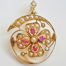 Antique Victorian 15ct Gold Ruby & Pearl Lucky Clover Pendant Brooch c1895