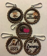 Handmade Adorable Brownies Girl Scouts Inspired Bottle Cap Zipper Pull Set of 5