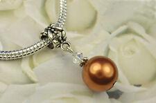 Copper Crystal Pearl Dangle Charm Bead European Style w Swarovski Elements