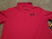 BRAND NEW Boys UNDER ARMOUR GOLF 3 BUTTON POLO Red YMD 10-12 FREE SHIP