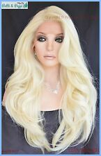Swiss Lace Front Wig 4X4 Silk Top Handtied Heat Safe Clr 613 Long Thick 1241