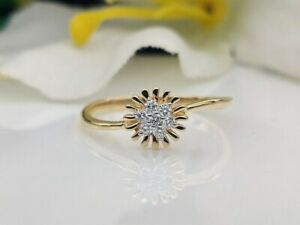 14K Yellow Gold Plated Sunflower Engagement & Wedding Unique Ring 1 Ct Diamond