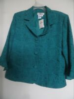 NWT Coldwater Creek 12 Button Down Short Jacket Teal Jacquard $89