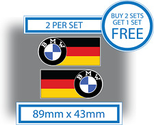 2 x BMW stickers BMW logo German Flag 89mmx43mm VINYL Car Motorcycle Waterproof