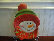 Fitz & Floyd Gourmet Porcelain Holiday Folk Snowman Accent Dish