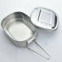 Stainless Steel Lunch Box Food Container Tableware Bento Leak-Proof Buckle Carry
