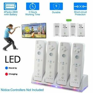 4X Rechargeable Batteries Pack & Charger Dock Station For Wii Controller