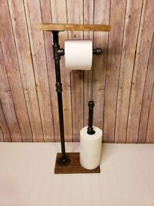 Vintage Toilet Paper Holder Stand and Shelf, With Extra Toilet Roll Storage