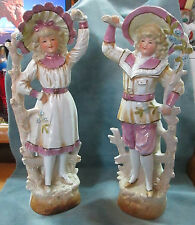 """Antique 11 3/4"""" High Glazed Bisque Signed Pair Male & Female Figurines"""