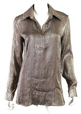 GUCCI $950 Metallic Gray Silk Liquid Lame Long Sleeve Tunic Blouse 44