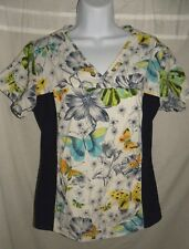 Scrub Top Small Nursing  Cherokee White Butterfly Flowers Medical Uniform