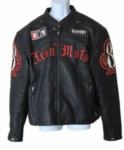 ICON MOTO motorcycle Dead Mans hand Leather Jacket limited edition skull 2XL