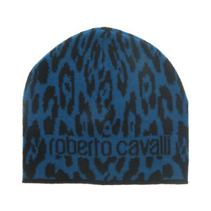 Roberto Cavalli  ESZ026 D0174 Black/Aquamarine Jaguar Beanie Hat