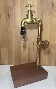Handmade Steampunk Style Desk/Table Lamp In Copper Brass - Reclaimed Man Cave