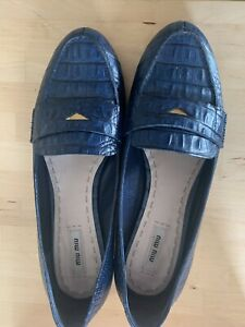 Miu Miu Mock Croc Navy Loafers Eu 41 / UK 8  Shoes