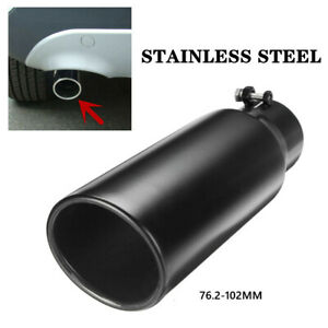 1X Car Auto Black Stainless Steel Exhaust Pipe Muffler Tip Tail Throat Universal