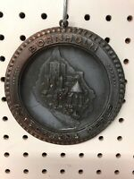 """Vintage Pewter And Copper Plate Wall Hanging Bornholm Ostersoens Perle 6"""" Medal"""