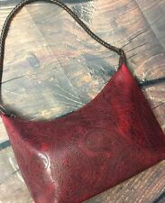 Vintage Relic Red Tooled Paisley Shoulder Bag Purse Woven Strap Faux Leather